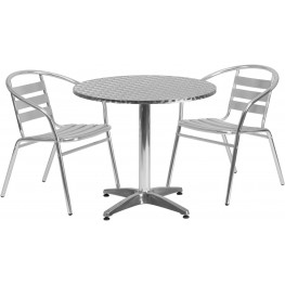 "31.5"" Round Aluminum Indoor-Outdoor Table with 2 Slat Back Chairs"