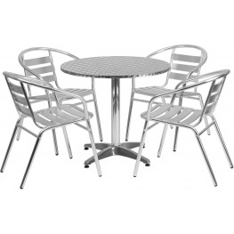 "31.5"" Round Aluminum Indoor-Outdoor Table with 4 Slat Back Chairs"