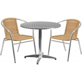 "31.5"" Round Aluminum Indoor-Outdoor Table with 2 Beige Rattan Chairs"