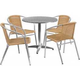 "31.5"" Round Aluminum Indoor-Outdoor Table with 4 Beige Rattan Chairs"