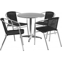 "31.5"" Round Aluminum Indoor-Outdoor Table with 4 Black Rattan Chairs"
