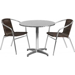 "31.5"" Round Aluminum Indoor-Outdoor Table with 2 Dark Brown Rattan Chairs"