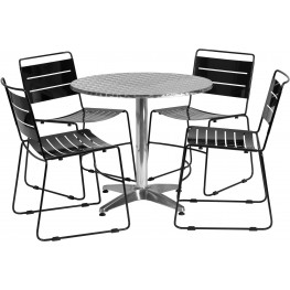 "31.5"" Round Aluminum Indoor-Outdoor Table with 4 Black Metal Stack Chairs"