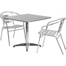 "31.5"" Square Aluminum Indoor-Outdoor Table with 2 Slat Back Chairs"