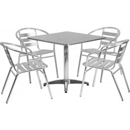 "31.5"" Square Aluminum Indoor-Outdoor Table with 4 Slat Back Chairs"