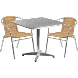 "31.5"" Square Aluminum Indoor-Outdoor Table with 2 Beige Rattan Chairs"