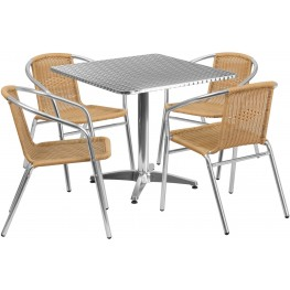 "31.5"" Square Aluminum Indoor-Outdoor Table with 4 Beige Rattan Chairs"