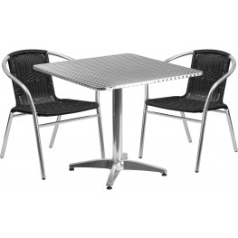 "31.5"" Square Aluminum Indoor-Outdoor Table with 2 Black Rattan Chairs"