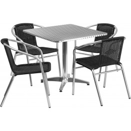 "31.5"" Square Aluminum Indoor-Outdoor Table with 4 Black Rattan Chairs"