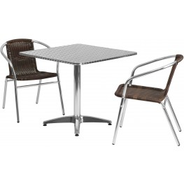 "31.5"" Square Aluminum Indoor-Outdoor Table with 2 Dark Brown Rattan Chairs"
