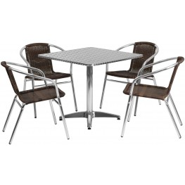 "31.5"" Square Aluminum Indoor-Outdoor Table with 4 Dark Brown Rattan Chairs"