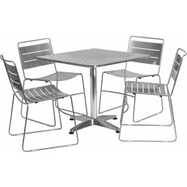 """31.5"""" Square Aluminum Indoor-Outdoor Table with 4 Silver Metal Stack Chairs"""