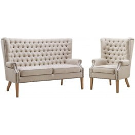 Abe Beige Linen Living Room Set