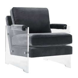 Serena Grey Velvet and Lucite Chair
