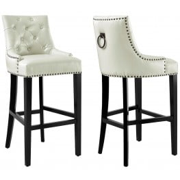Uptown Cream Leather Barstool Set of 2