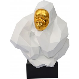 White and Gold Pondering Ape Large Sculpture