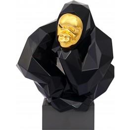 Black and Gold Pondering Ape Large Sculpture