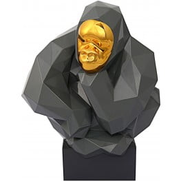 Gray and Gold Pondering Ape Sculpture