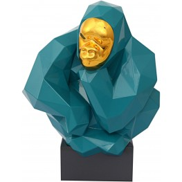 Green and Gold Pondering Ape Sculpture