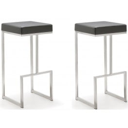 Ferrara Grey Stainless Steel Barstool Set of 2