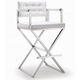 Director White Stainless Steel Barstool