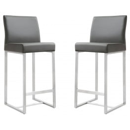 Denmark Grey Stainless Steel Counter Stool Set of 2