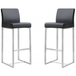 Denmark Black Stainless Steel Barstool Set of 2