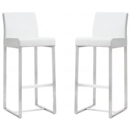 Denmark White Stainless Steel Barstool Set of 2