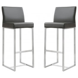 Denmark Grey Stainless Steel Barstool Set of 2