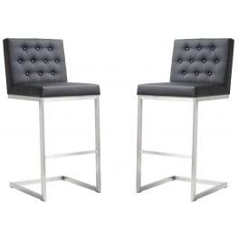 Helsinki Black Stainless Steel Barstool Set of 2