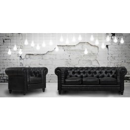 Zahara Black Leather Living Room Set