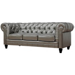 Zahara Silver Leather Sofa