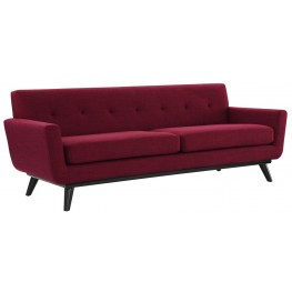 James Red Linen Sofa