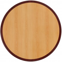 """24"""" Round Two-Tone Resin Cherry and Mahogany Table Top"""