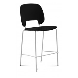 Traffic Black Lacquered Steel White Frame Stacking Chair