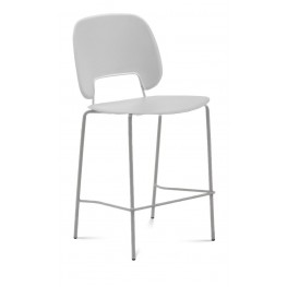 Traffic Light Grey Lacquered Steel Sand Frame Stacking Chair