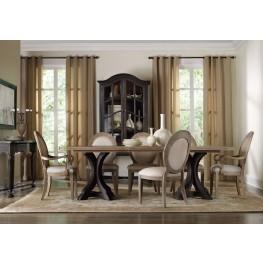 Corsica Light Wood Rectangular Pedestal Extendable Dining Room Set