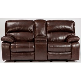 Damacio Dark Brown Glider Reclining Loveseat with Console