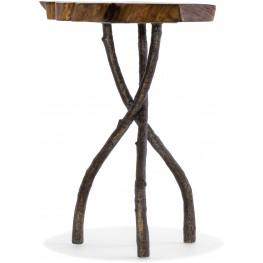 Medium Wood Acacia Round Slab Table