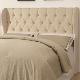 Murrieta Beige Upholstered King Tufted Headboard