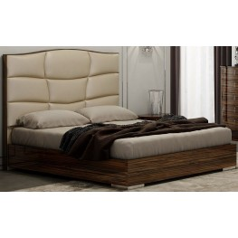 Venice Zebrano King Upholstered Platform Bed
