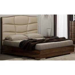 Venice Zebrano Queen Upholstered Platform Bed