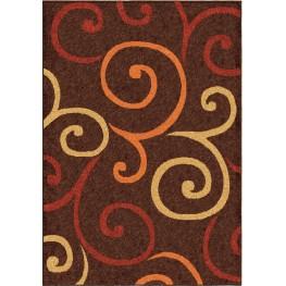 Veranda Indoor/Outdoor Scroll Semi Swirls Brown Medium Area Rug