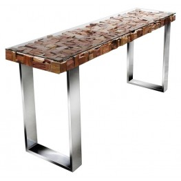 Taj Viaggi Magnolia Stainless Steel Console Table