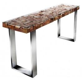 Taj Viaggi Magnolia Stainless Steel Console Table