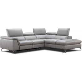 Viola Light Gray Premium Leather Power Reclining RAF Sectional
