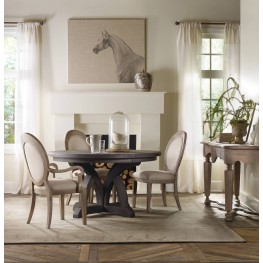 Corsica Dark Wood Round Extendable Dining Room Set