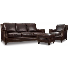 Bradshaw Brown Leather Living Room Set
