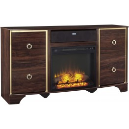 Lenmara Reddish Brown Large TV Stand With Small Integrated Audio