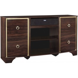 Lenmara Reddish Brown Large TV Stand With Large Integrated Audio